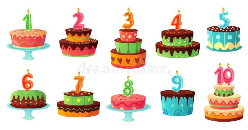 Candela di numeri della torta di compleanno del fumetto Candele di anniversario, insieme dell'illustrazione di vettore dei dolci  royalty illustrazione gratis