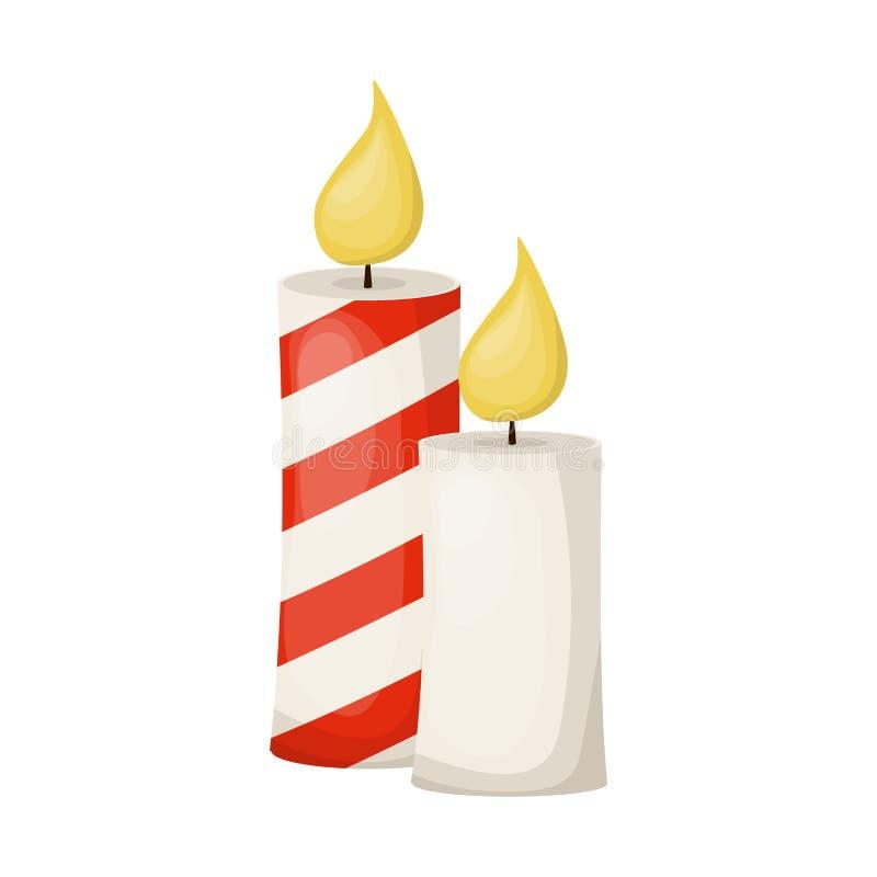 Candela dorata su fondo bianco Illustrazione delle candele di Chanukah Saluto di natale Luce del fuoco della fiamma di candela illustrazione di stock