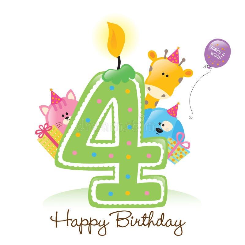 Candela ed animali di buon compleanno illustrazione di stock