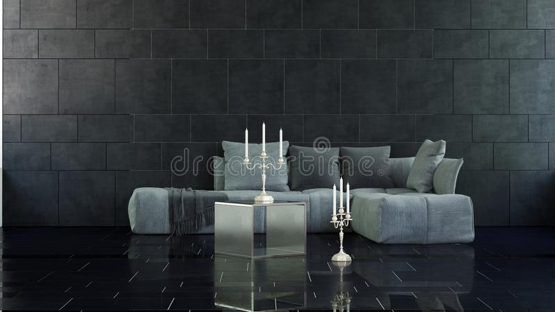 Candelabras on floor and table in 3D rendered room. Pair of candelabras on floor and table in marble surfaced 3D rendered room with large soft cushion sofa stock illustration
