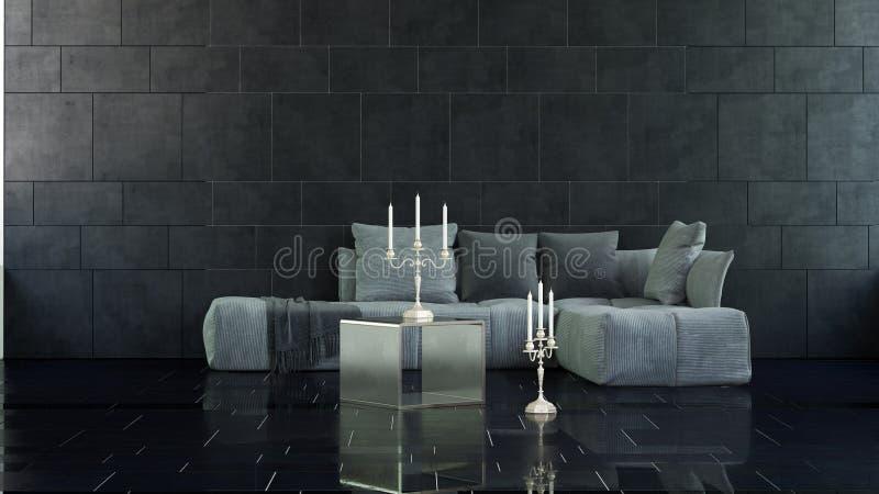 Candelabras sur le plancher et la table dans 3D a rendu la pièce illustration stock