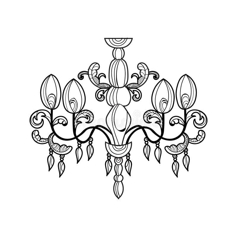 Candelabro clássico Projeto acessório da decoração luxuosa Esboço da ilustração do vetor ilustração stock