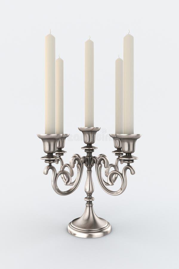 Candelabro con cinque candele immagine stock