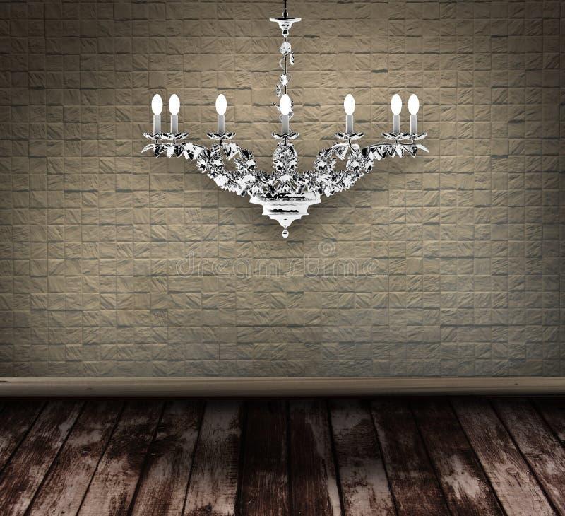 Candelabro de cristal em um quarto sujo ilustração royalty free