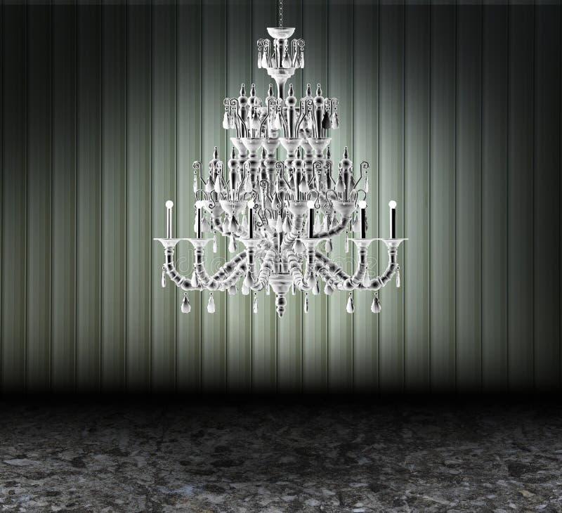 Candelabro de cristal em um quarto sujo escuro ilustração do vetor