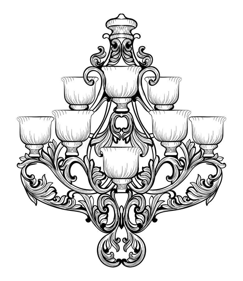 Candelabro de Rich Baroque Classic Projeto acessório da decoração luxuosa Esboço da ilustração do vetor ilustração royalty free