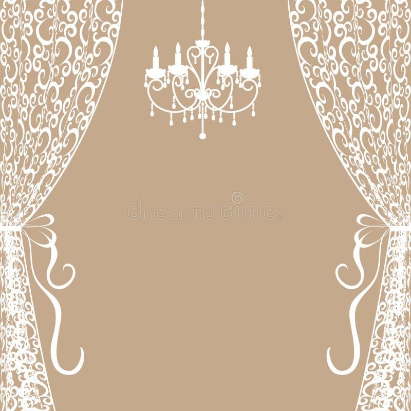 Candelabro e cortinas ilustração do vetor