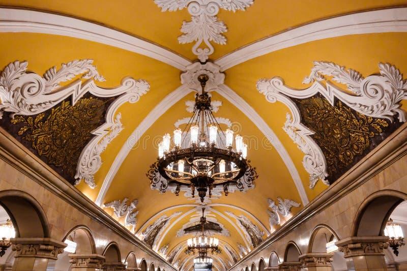 Candelabro no metro de Moscou fotos de stock royalty free