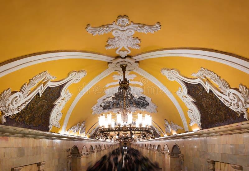 Candelabro no metro de Moscou imagem de stock