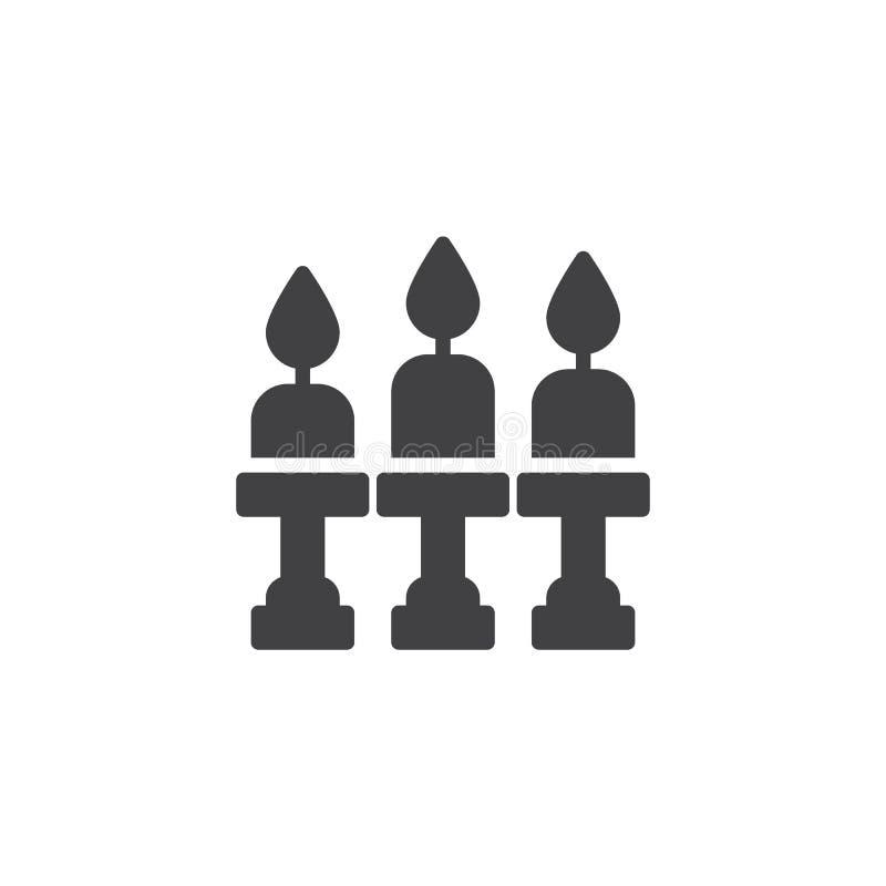 Candelabros com ícone do vetor das velas ilustração do vetor