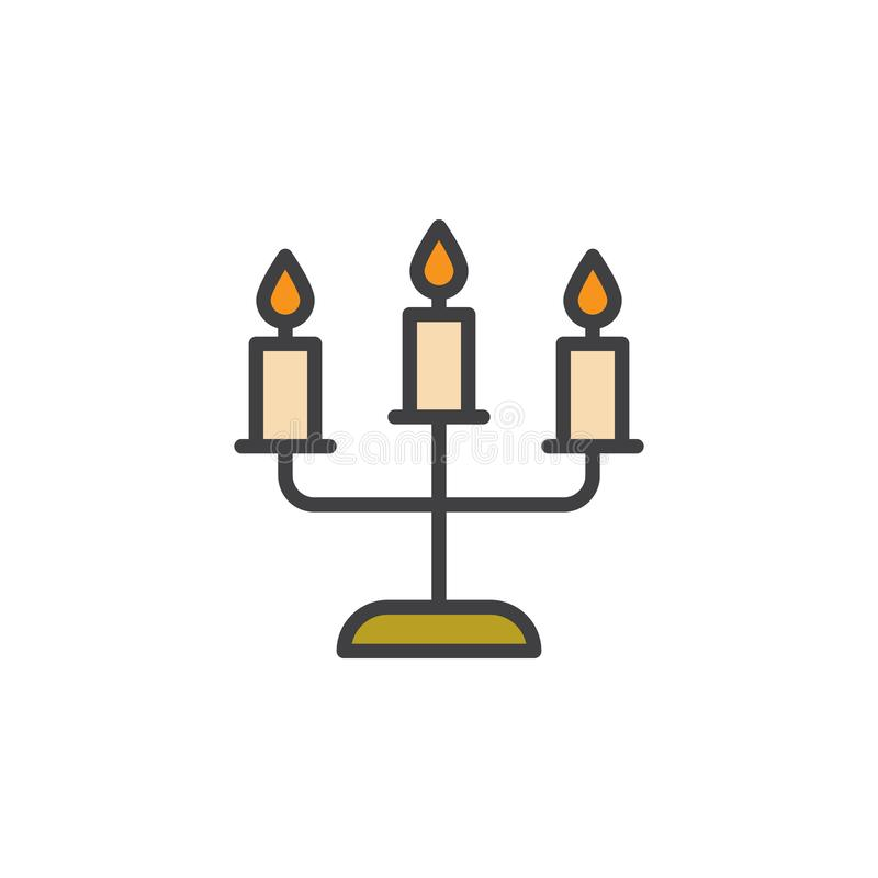 Candelabros com ícone enchido velas do esboço ilustração stock