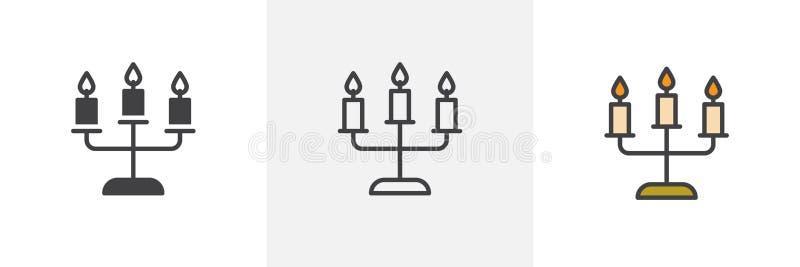 Candelabros com ícones diferentes do estilo das velas ilustração stock