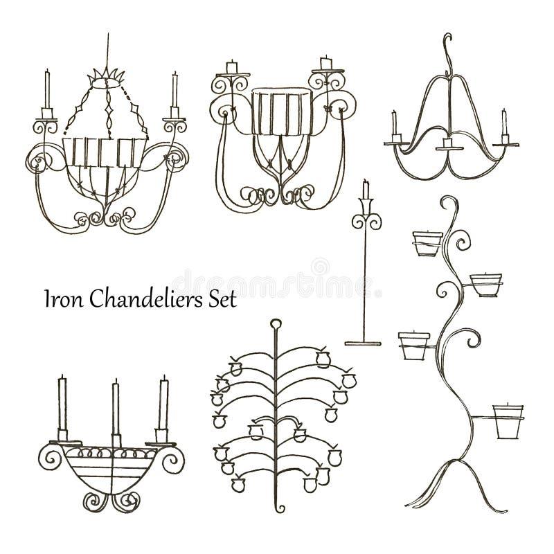 Candelabros do ferro ajustados ilustração royalty free