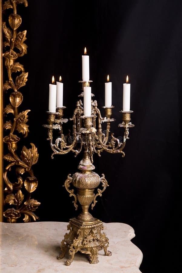 Candelabrum with candles, luxury retro style. Decor stock photography
