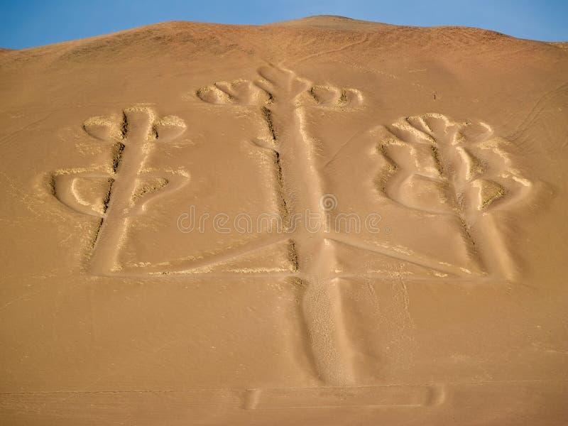 Candelabrum in Paracas national park. Ancient Candelabrum figure in Paracas national park stock photo
