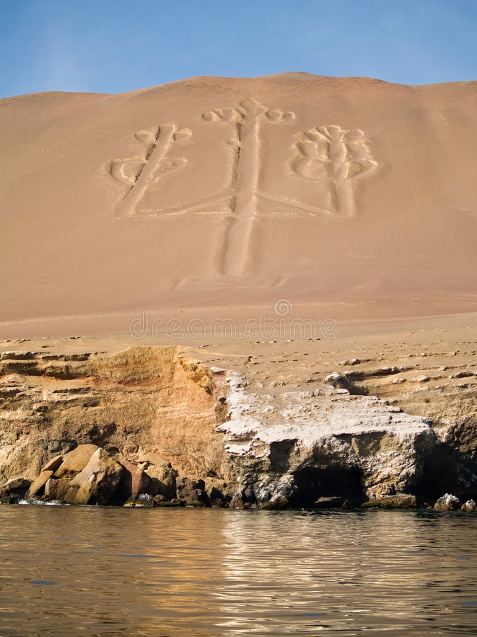 Candelabrum in Paracas national park. Ancient Candelabrum figure in Paracas national park royalty free stock image