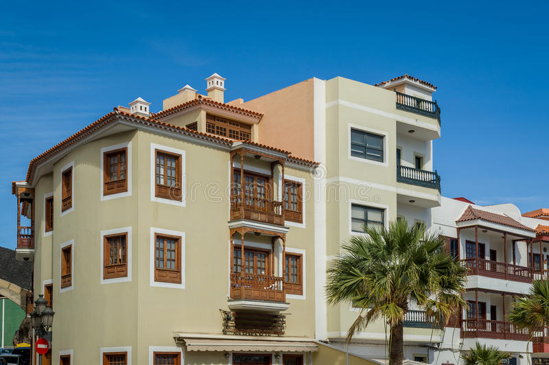 Candelaria town houses, Tenerife royalty free stock images