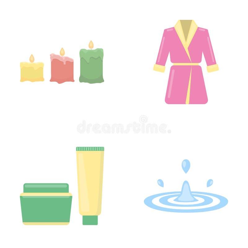 Candele brucianti multicolori, un abito rosa con una cinghia gialla e un collare, un tubo con crema e un barattolo con un unguent royalty illustrazione gratis