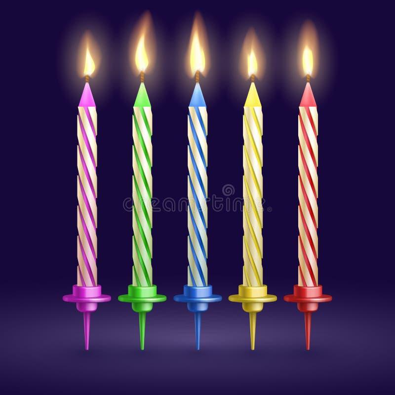 Candele bruciate della festa di compleanno e di natale illustrazione realistica di vettore 3D illustrazione vettoriale