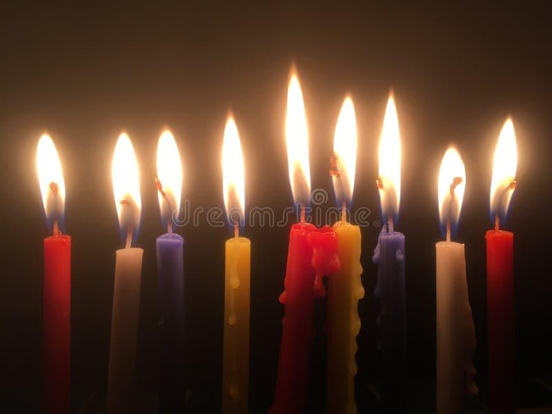 9 candele fotografia stock libera da diritti