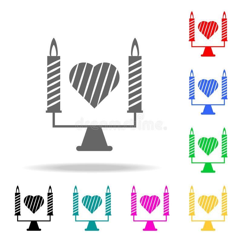 candele con un'icona del cuore Elementi di romance nelle multi icone colorate Icona premio di progettazione grafica di qualità Ic illustrazione di stock