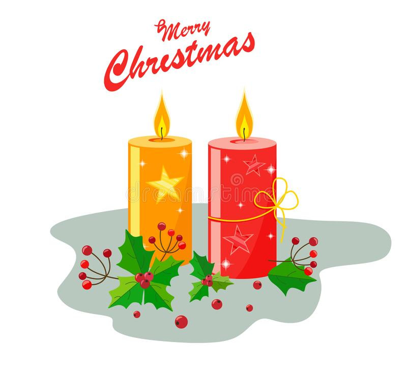 Candele decorate con scintillio e stelle per il Natale, le foglie e le bacche dell'agrifoglio, testo su un fondo bianco illustrazione vettoriale