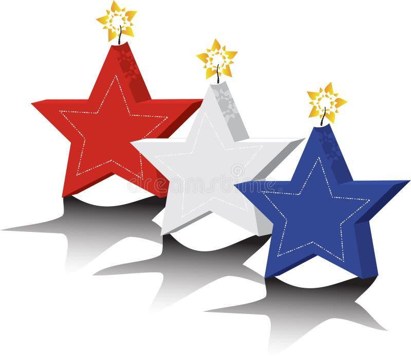 Candele della stella rossa, bianca e blu illustrazione di stock