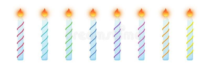 Candele della torta di compleanno Insieme variopinto bruciante delle candele royalty illustrazione gratis