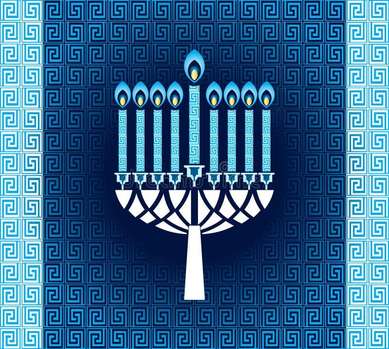 Candele di Chanukah con il modello  illustrazione di stock