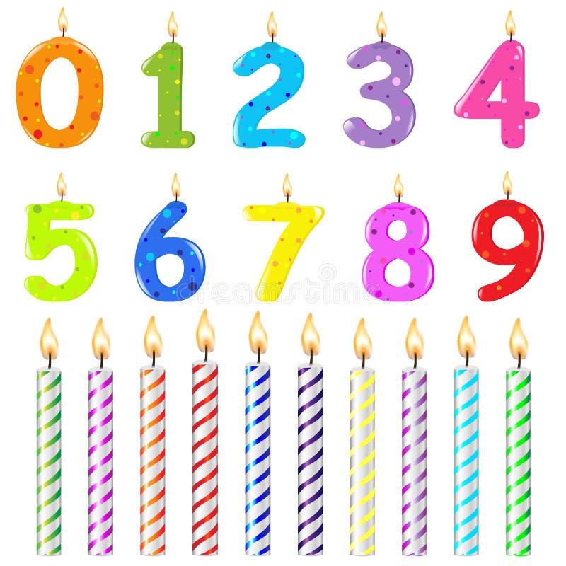 Candele di compleanno del modulo differente illustrazione vettoriale