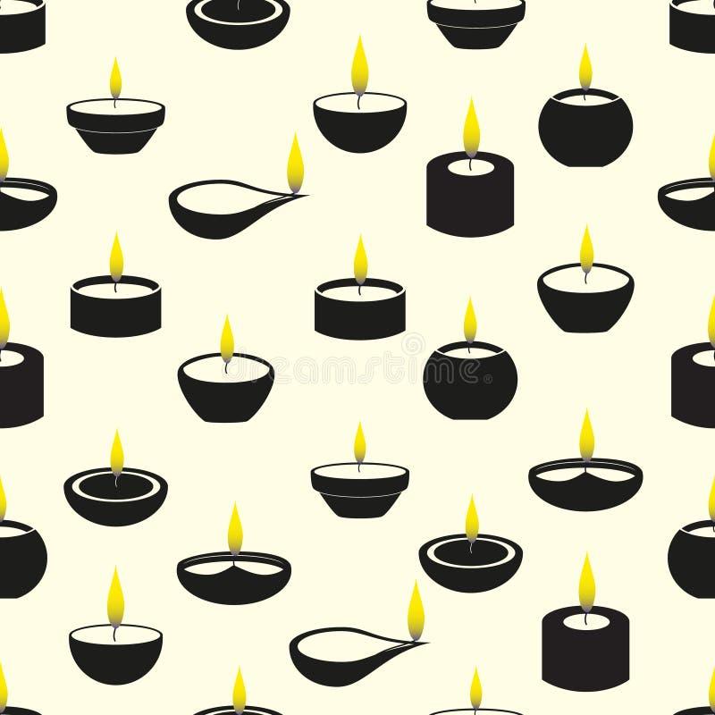 Candele di Diwali con il modello senza cuciture delle icone della fiamma illustrazione vettoriale