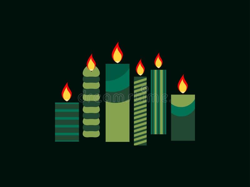 Candele di Natale in una progettazione piana Vettore illustrazione di stock