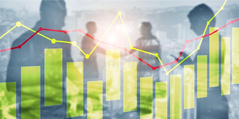 Candele e grafici gialli e rossi sul fondo di tecnologia di affari illustrazione vettoriale