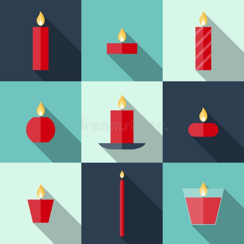 Download Candele Piane Di Natale Delle Icone Illustrazione Vettoriale - Illustrazione di colore, disegno: 55354735