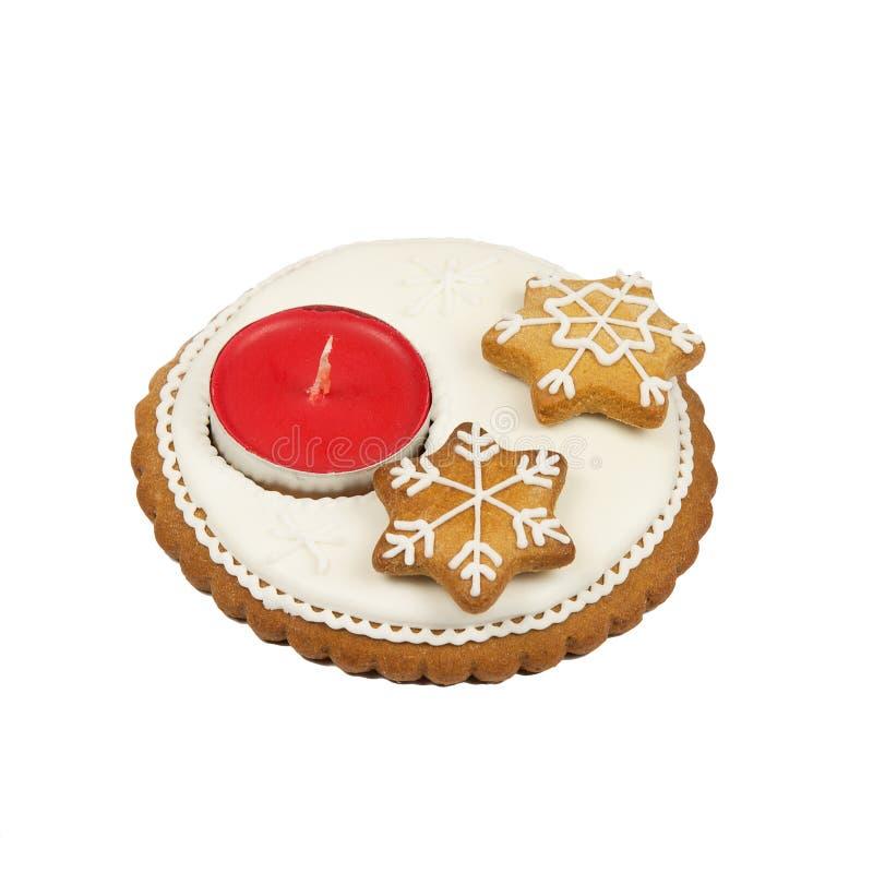 Candelero del pan de jengibre de la Navidad fotografía de archivo