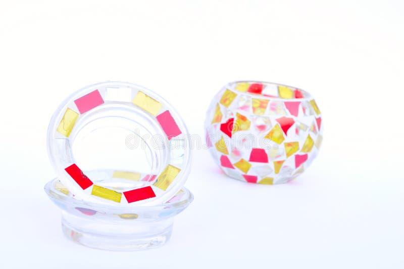 Candeleros del vidrio de mosaico imágenes de archivo libres de regalías