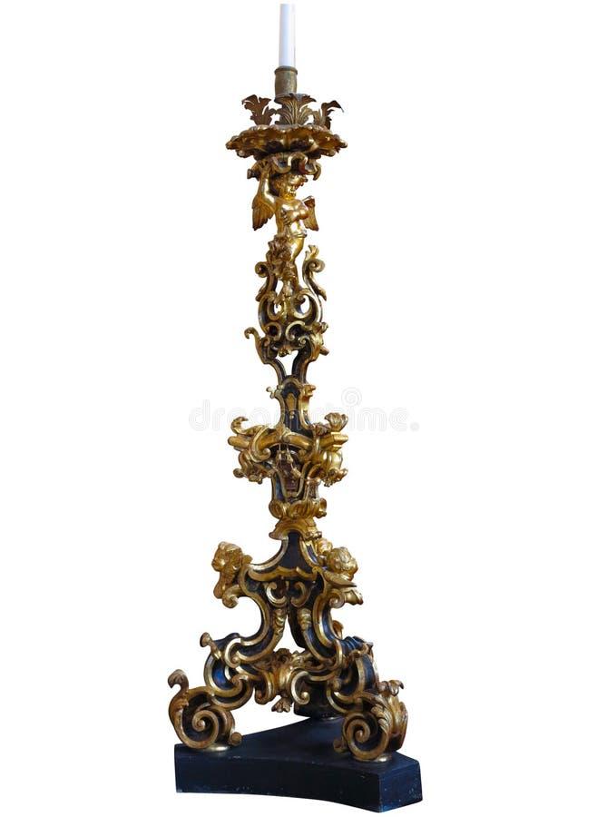 Candeliere antico bronzeo dell'annata con la d ricca e specializzata fotografie stock