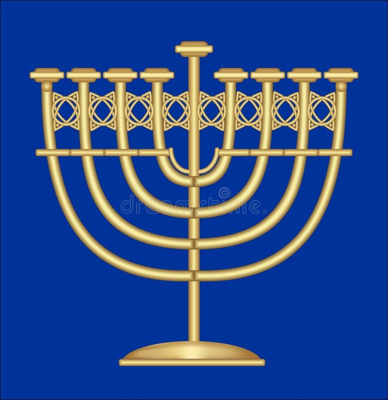 Candeliere antico classico dell'oro, supporto di candela nove-ramificato, simbolo della festività ebrea di Chanukah illustrazione vettoriale