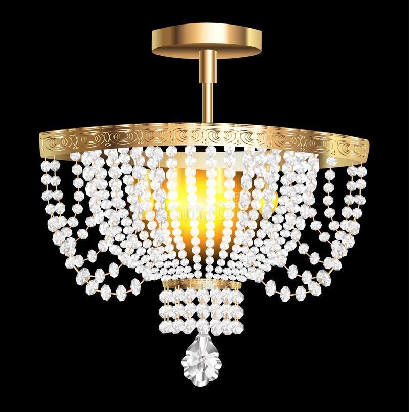 Candeliere a cristallo con i pendenti moderni illustrazione di stock