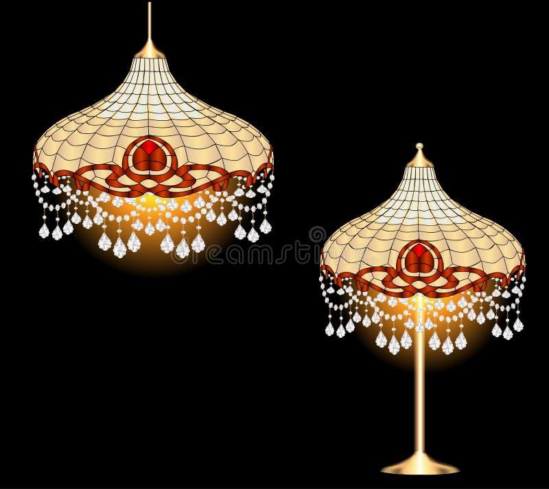 Candeliere d'annata e lampada da tavolo con la penna di cristallo royalty illustrazione gratis