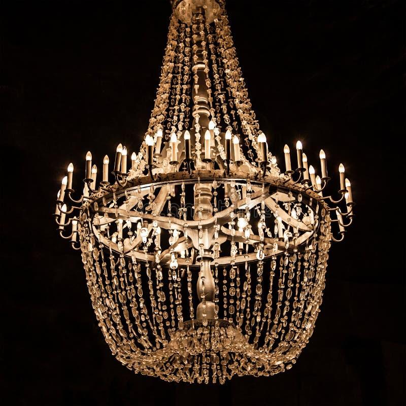Candeliere dei cristalli del sale da Wieliczka fotografia stock libera da diritti