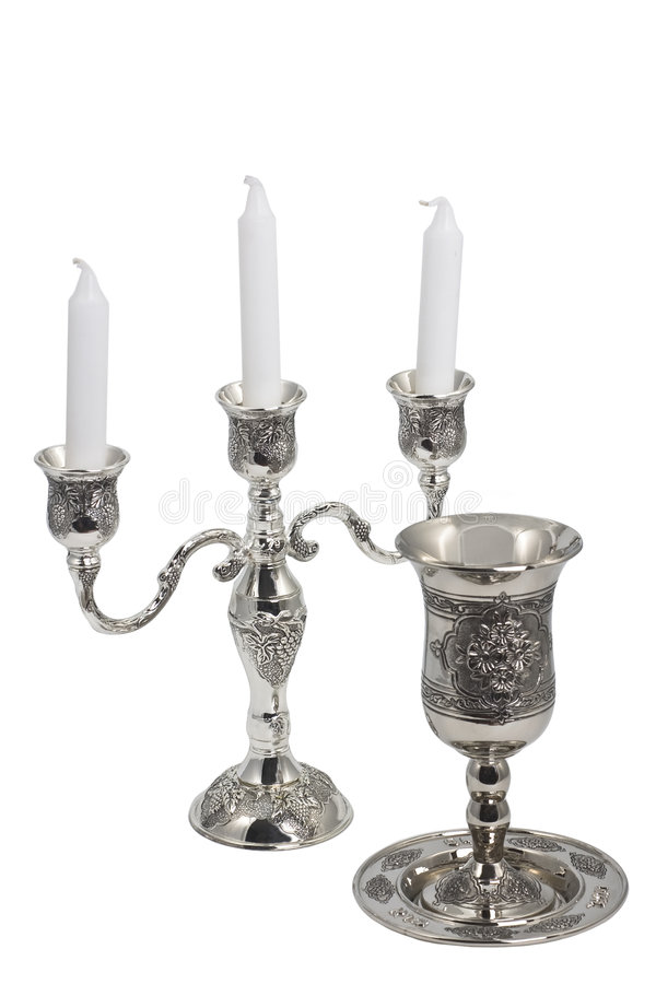 Candeliere della tazza del vino di Kiddush fotografia stock libera da diritti