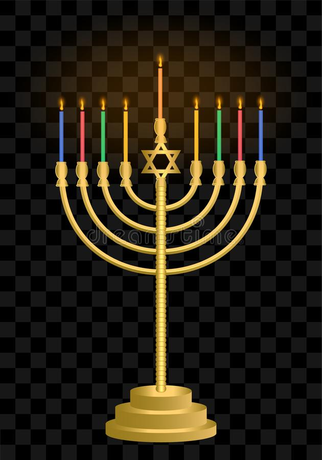 Candeliere di Chanukah hanukkah Candele ebree di festa Festival di luce ebreo royalty illustrazione gratis