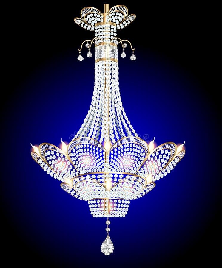 Candeliere moderno con i pendenti di cristallo su un blu illustrazione di stock
