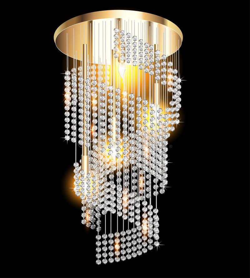Candeliere moderno con i pendenti di cristallo sul nero royalty illustrazione gratis