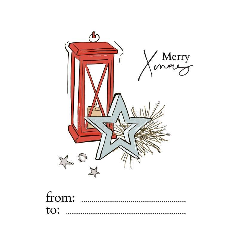Candelitas navideñas decoración con ramas de árbol de Año Nuevo, estrella azul, campanas de jingle y felicitación de Navidad a ma imagen de archivo libre de regalías