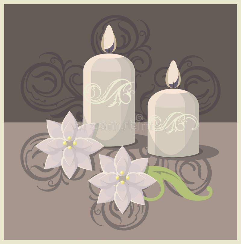 Candels и цветки курорта иллюстрация штока