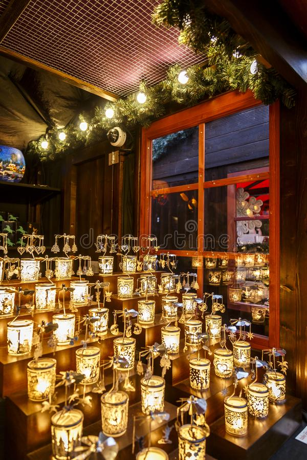 Candels at Christmas market stock image