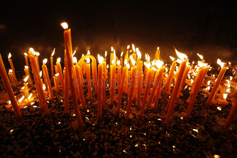Candels in orthodox church stock images