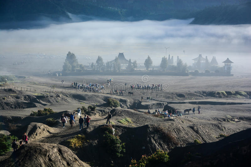 Candi Bentar temple from crater of mount Bromo stock photography